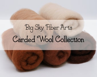 Carded New Zealand Wool Collection - Sienna Collection - for Wet and Dry Felting, short fiber