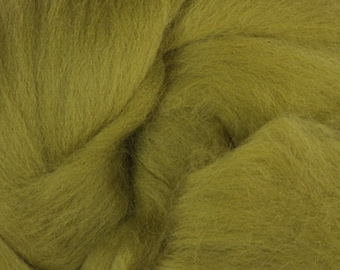 Two Ounces Extra Fine Merino Wool Roving, Color Olive