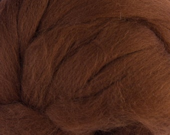 Two Ounces Extra Fine Merino Wool Roving, Color Bark