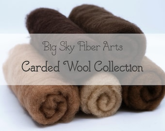 Carded New Zealand Wool Collection Medium to Dark Skin Tones for Wet and Dry Felting, short fiber