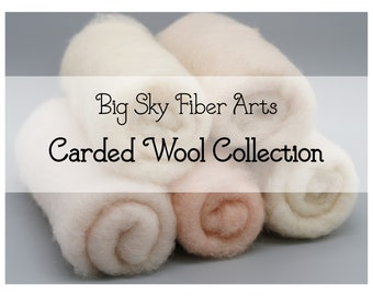 Carded New Zealand Wool Collection Light Skin Tones for Wet and Dry Felting, short fiber