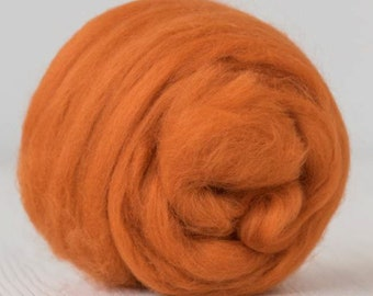 Two Ounces Extra Fine Merino Wool Roving, Color Marigold