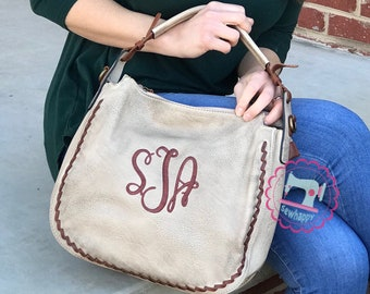 Sally Stitch Monogrammed Distressed Hobo Purse c98b0eb484b1f