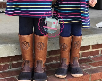 a2ad3fac32e Youth monogrammed duck boots