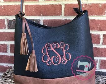 2-tone monogram hobo purse, monogram handbag, personalized hobo purse