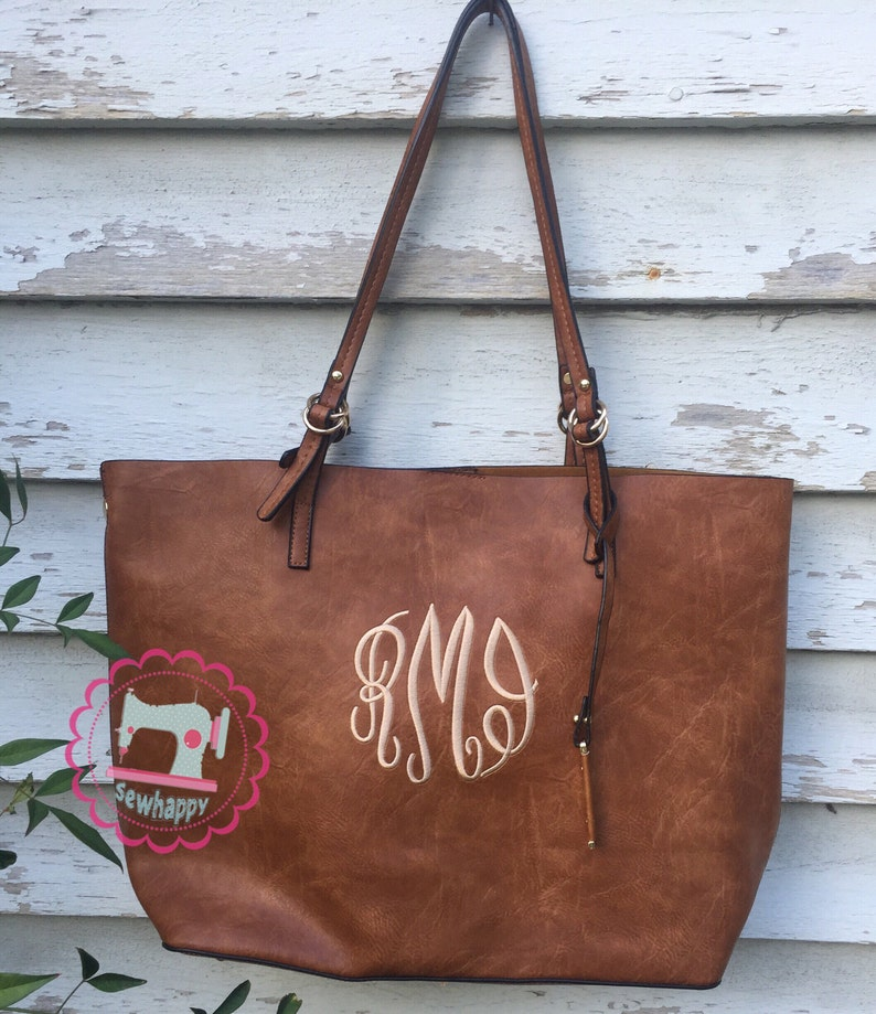 Monogrammed tote purse with crossbody included image 0