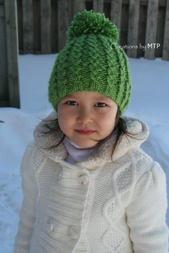PDF KNITTING PATTERN - Knit Mock Cable Hat with Pom-Pom 00a84667f50
