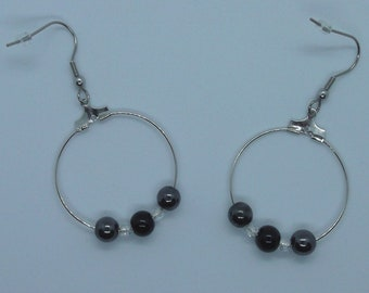 Earrings rings SEMI precious hematite and onyx with Crystal, stainless steel STAINLESS steel finish