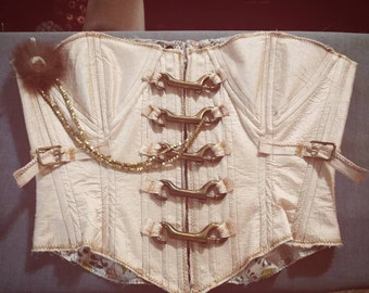 fe4962773bf Victorian custom steampunk raw edge dupioni silk overbust corset