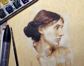 Virginia Woolf / Portrait /Small framed print/ Literature / Women / Watercolor / Digital Print / SottoSopraArtWorks
