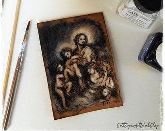 Studio of Madonna and Angels in miniature - Aceo Art Card Original - Original drawing - Chine and coffee - Small Art - SottoSopraArtWorks