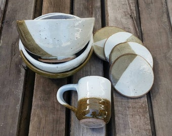 Handmade Clay Ceramic Pottery Dinnerware Dish Set / Olive Brown and Speckled White Modern Design Bowls Mugs Coasters / Stoneware