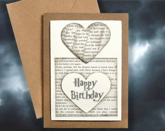 Harry Potter Book Pages Personalised Birthday Card Handmade Gift Greetings Boyfriend Girlfriend
