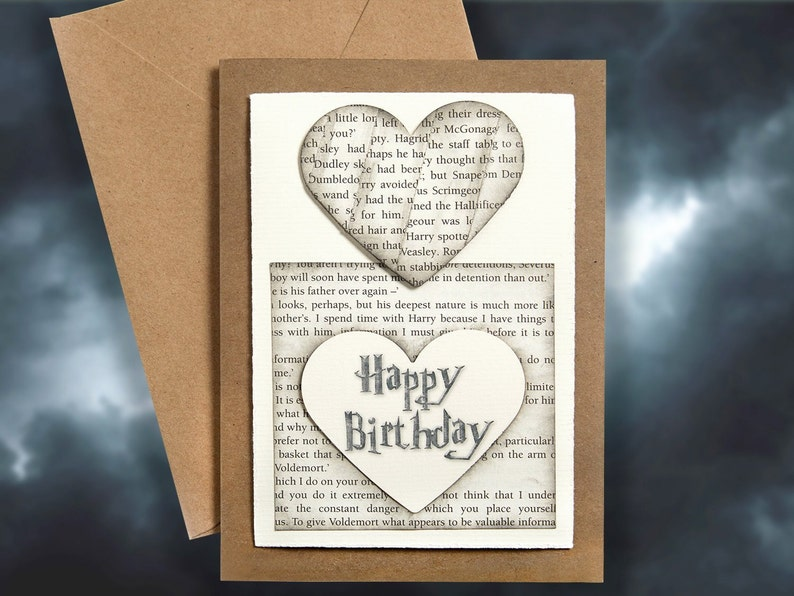 Harry Potter Book Pages Personalised Birthday Card