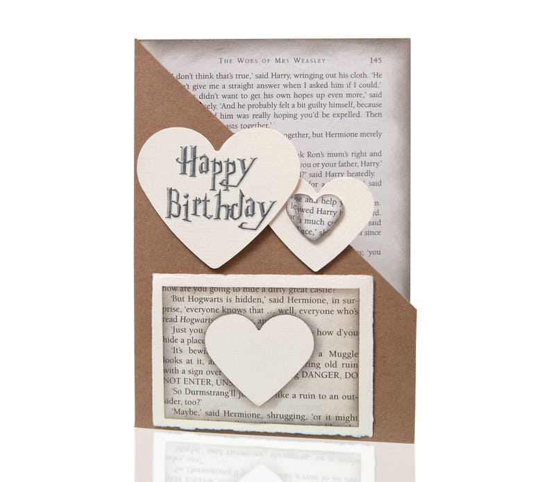 Harry Potter Happy Birthday Card Book Pages Handmade Gift For