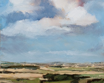 Landscape, oil study, painting - Countryside view