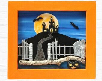 Halloween Wall Decor, 3D Wood Wall Art, Halloween Painting, Halloween Decor, Haunted Castle, Pumpkin Wall Art, Haunted House