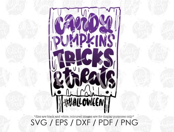Hand Lettered SVG Cute Kids T-shirt Halloween Sign Design SVG Candy Pumpkins Trick Or Treat Halloween Sign List SVG Blot And Ink