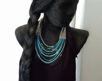 Ethnic multi strand necklace