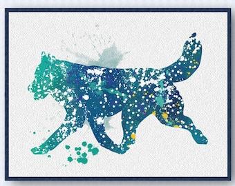 Siberian Husky Watercolor Poster