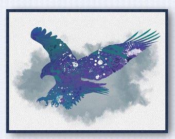 American Bald Eagle Watercolor Poster