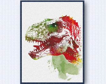 T-Rex Dinosaur Watercolor Poster