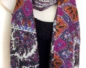 Pashmina Wool Scarf,100 Wool Wrap,White Purple and Orange Shawl,Floral Wrap,Holiday Gift