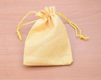 10pcs gold Drawstring Pouch natural yellow Hemp drawstring Bag Wedding gift bag gold linen Packaging Bags Jewelry Party Recycle Bags