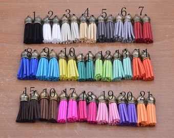 30pcs 85mm blue suede leather with gold plated copper caps tassels ears charms findings
