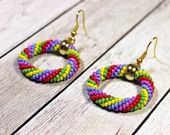 Rainbow hoop earrings, Multicolor beaded rope earrings, Gold color detail, Rainbow mood, Gift for her girlfriend birthday or Christmas gift