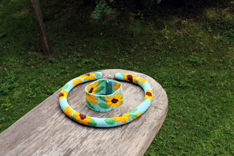 crochet necklace and with woven bracelet Sunflower Sunflower necklace Woven Beaded Bracelet Beaded rope necklace Christmas gift idea