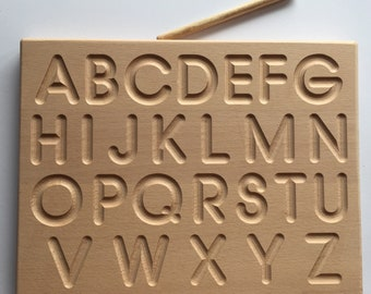 Montessori alphabet tracing board made of wood - Uppercase - and/or Lowercase