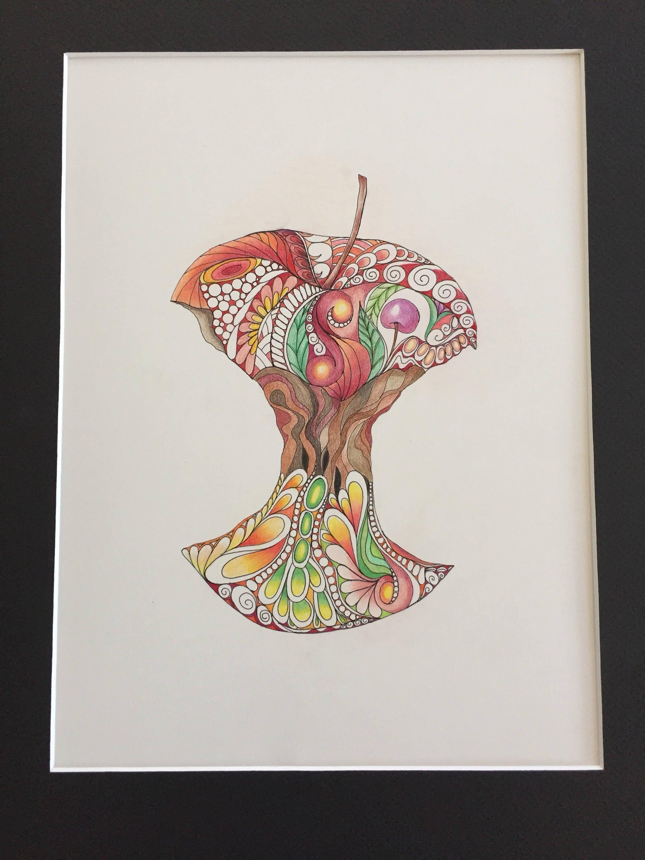 Apple zentangle de couleur pomme pomme mang couleur etsy - Dessin pomme apple ...