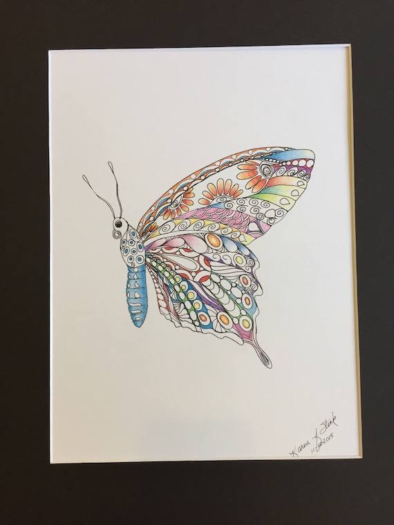 Zentangle Butterfly Colored Butterfly Colored Zentangle Etsy