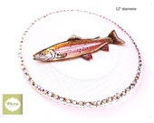 Round presentation GLASS PLATE, handpainted by Pero, trout, serving plate, sushis, tapas, cookies For FISH lovers, can be personalized