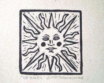 LE SOLEIL Print - 2.5x2.5. Black. Linoleum Prints Block Cuts Hand Printed Hand Carved Linocut Sun Print Block Prints Handmade Gifts