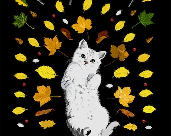 Cat and Leaves A4 Art Image Print + FREE Pencil Print Downloadable item