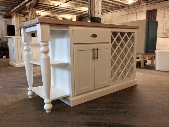 Item WR1270 Custom kitchen Island Cabinet, Wine storage, Butcher Block  CounterTop