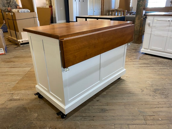 Kitchen Island On Casters Drop Leaf Kitchen Island With Etsy