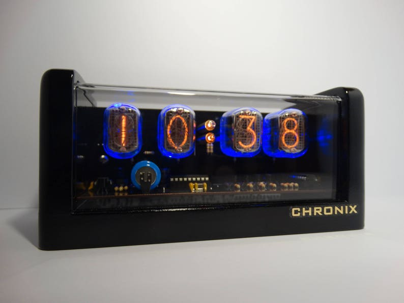 4xIN-12 NIXIE TUBES CLOCK with blue led backlight, alarm and black glossy  case