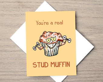Love kaart relatie kaart, verjaardag kaart, Food kaart, Muffin Card, leuke kaart, woordspeling Card, Cheesy Card, Foodie kaart