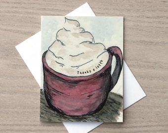 Thank You Card, Coffee Card, Latte Card, Thank You Cards, Drink Card, Coffee Lover Card, Caffeine Card