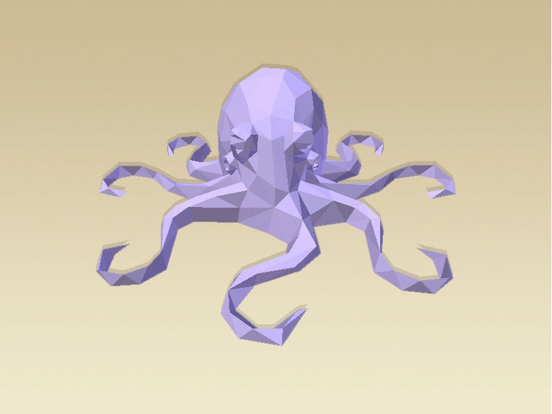 picture relating to Octopus Template Printable identified as Do it yourself 3D Papercraft Octopus - PDF, Printable Type, Template