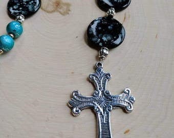 Anglican Prayer Beads - Silver and Blue