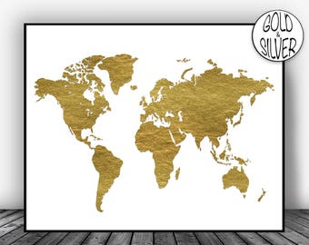 Gold map etsy world map poster world map print world map art world map art print world map wall gold home decor world map decor goldartprint gumiabroncs Gallery