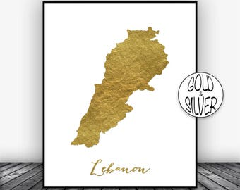 Lebanon Print, Lebanon Art Print, Home Decor Lebanon Map Art Wall Art Decor, Home Wall Decor, Living Room Decor, Wall Prints, GoldArtPrint