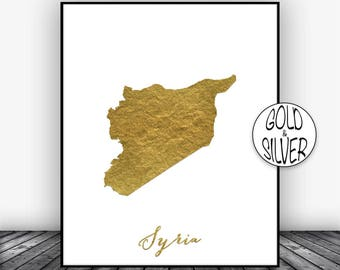 Syria Print, Syria Art Print, Home Decor Syria Map Art Wall Art Decor, Home Wall Decor, Living Room Decor, Wall Prints, GoldArtPrint