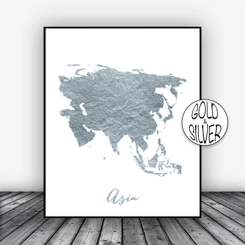 Map Of Asia To Print.Asia Map Asia Print Asia Continent Map Of Asia Map Wall Etsy