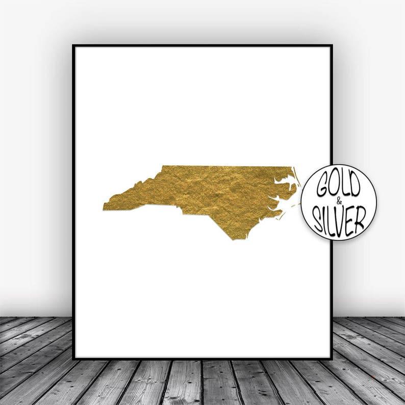 North Carolina Art North Carolina Print North Carolina Map Art Map Print Map Wall Art Gold Art Print Office Poster GoldArtPrint
