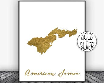 American Samoa Print, Samoa Art Print, Home Decor, Wall Art Decor, Samoa Map Art, Home Wall Decor, Living Room Decor GoldArtPrint